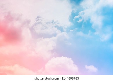 fantasy cloudy sky with pastel gradient filter, nature abstract background.sky pink and blue colors