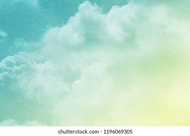 fantasy cloudy sky with pastel gradient color and grunge paper texture, nature abstract background