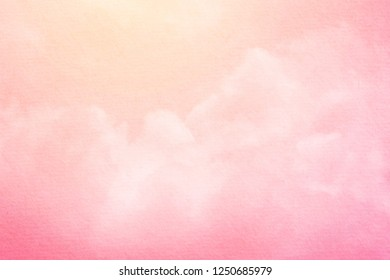 fantasy cloudy sky with pastel gradient color and grunge paper , nature abstract background