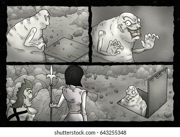 Fantasy comic scene