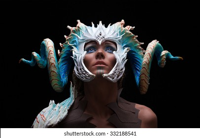 fantasy concept, of a young girl, warior strong, brave, muscular wearing a helmet - mask with horns on head with coral white with dots, and see creatures patterns,