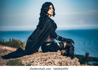 Fantasy cosplay beautiful girl from Witcher called Yennefer