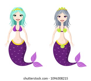 Fantasy creature. Sea mermaid with purple tail. Raster clip art.