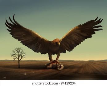 fantasy digital illustration of a giant bird preying on an adult elephant