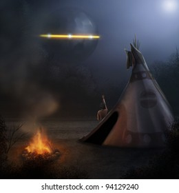 fantasy digital illustration of a native American observing a UFO in the night sky
