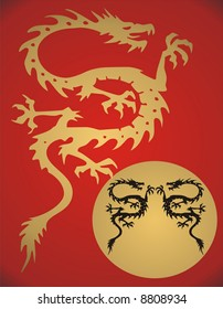 Fantasy Dragon on red background - vector