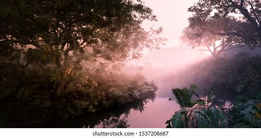 Fantasy evening sunset in jungle paradise. Dense rainforest vegetation, calm pond in misty volumetric light. 3d rendering.
