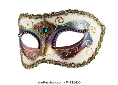 Fantasy female white mask with golden ornaments