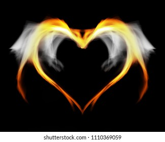 Fantasy fire heart with wings, on black isolated background.