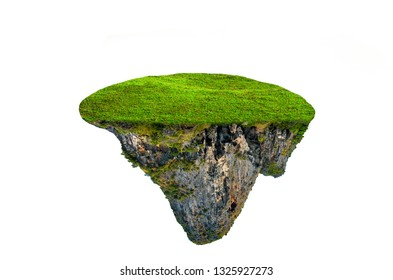fantasy floating island with natural grass Isolate