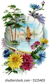 Fantasy floral bouquet - circa 1890 greeting card illustration
