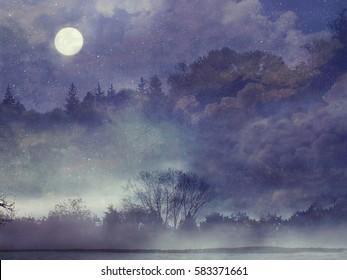 Fantasy forest. Fantasy landscape