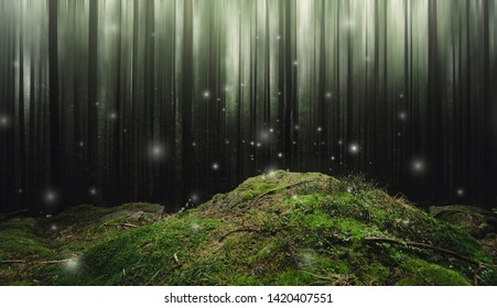fantasy forest landscape with magical sparkles floating above moss covered ground