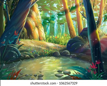 The Fantasy Forest Moring by the Riverside with Fantastic, Realistic and Futuristic Style. Video Game's Digital CG Artwork, Concept Illustration, Realistic Cartoon Style Scene Design