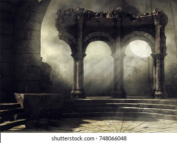 Fantasy full moon scene with old abandoned ruins. 3D illustration.