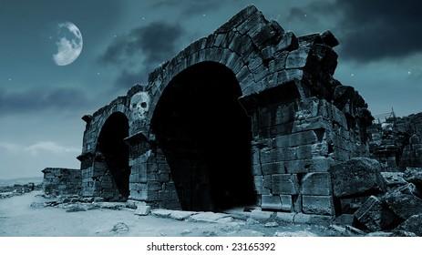 Fantasy gate in moonlight