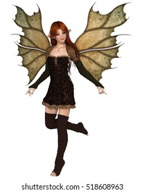 Fantasy illustration of a autumn fairy dressed in brown with red hair and leaf wings, digital illustration (3d rendering)