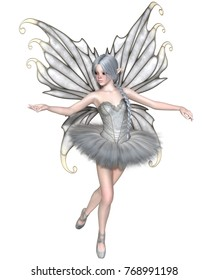 Fantasy illustration of a Ballerina Winter Fairy with silver wings in a white tutu, digital illustration (3d rendering)