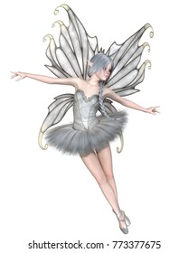 Fantasy illustration of a Ballerina Winter Fairy with silver wings and a white tutu, digital illustration (3d rendering)