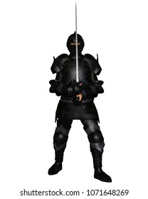 Fantasy illustration of a black knight in Medieval armour holding a sword, digital illustration (3d rendering)