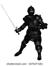 Fantasy illustration of a black knight in Medieval armour holding a sword and ready to attack, digital illustration (3d rendering)