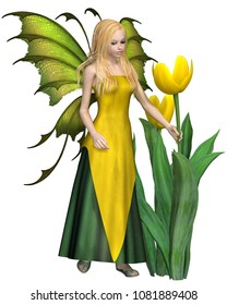 Fantasy illustration of a blonde haired fairy standing by yellow tulips, digital illustration (3d rendering)