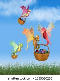 Fantasy illustration of cute bright colourful fairy dragons delivering baskets of shiny Easter Eggs, digital illustration (3d rendering)