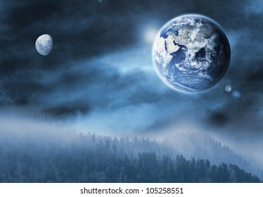 Fantasy illustration of the earth and moon as seen from another planet. (Earth and Moon credit: NASA)