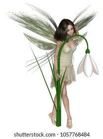 Fantasy illustration of a pretty dark haired fairy standing with a snowdrop flower, digital illustration (3d rendering)