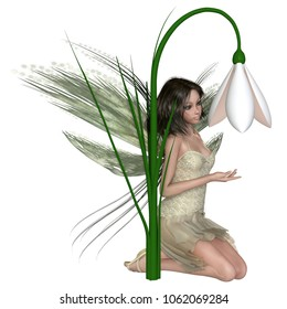 Fantasy illustration of a pretty dark haired fairy kneeling by a snowdrop flower, digital illustration (3d rendering)
