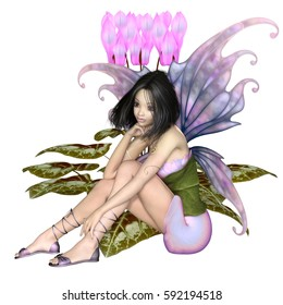 Fantasy illustration of a pretty dark haired fairy sitting by a pink cyclamen flower, digital illustration (3d rendering)
