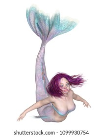 Fantasy illustration of a pretty purple haired mermaid with pink and blue fish scales swimming forwards, digital illustration (3d rendering)