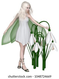 Fantasy illustration of a pretty white haired fairy standing with a group of snowdrop flowers, digital illustration (3d rendering)