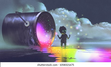fantasy illustration showing a big bucket lying on surface and a cute creature standing on puddle of colorful paint, digital art style