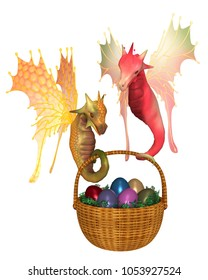 Fantasy illustration of two cute bright colourful fairy dragons carrying a basket of shiny Easter Eggs, digital illustration (3d rendering)