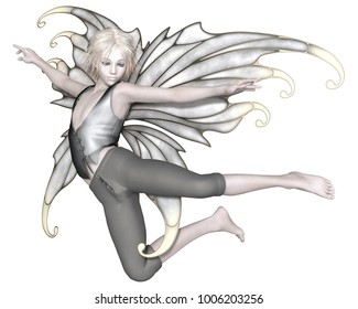Fantasy illustration of a winter fairy boy with silver wings flying, digital illustration (3d rendering)