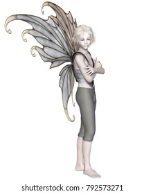 Fantasy illustration of a winter fairy boy with silver wings, digital illustration (3d rendering)