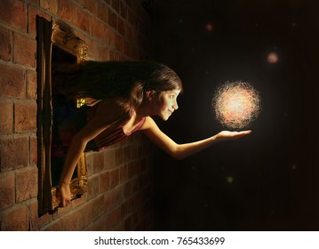 Fantasy image with girl catching dreams.