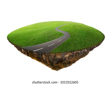 Fantasy island floating in the air with green field and curvy asphalt highway . Isolated on white background .