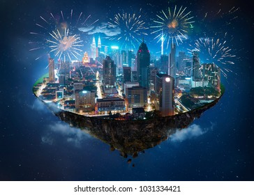 Fantasy island floating in the air with modern city skyline and lake garden, Night scene with firework celebration.