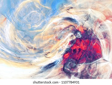 Fantasy landscape. Artistic background. Abstract painting bright color texture. Modern dynamic pattern. Fractal artwork for creative graphic design