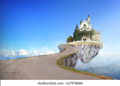fantasy landscape with the fairytale castle in a cloudy day, Beautiful Famous Nest Castle on the Rock fairy story, fairy tale had black asphalt winding Road.