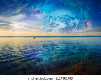 Fantasy landscape - lonely fishing boat floating on tranquil ocean water with planet and galaxy in the skies. Elements of this image are furnished by NASA