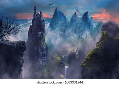 fantasy landscape of mountain and castle with foggy
