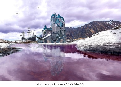 A fantasy landscape of a northern Land with a castle and sailing ship