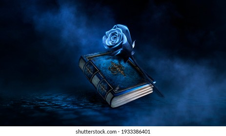 Fantasy magic dark background with a magic rose, flower, old book, old iron mirror. Smoke, smog, night view of a dark street. Reflection of blue neon light. Magic, fortune telling. - Shutterstock ID 1933386401