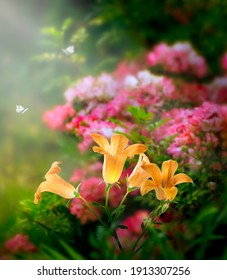 Fantasy magical golden bluebells glade in enchanted fairy tale dreamy elf forest with fabulous fairytale blooming pink rose flower garden in sunny morning and butterflies on mysterious background