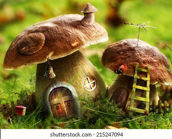 Fantasy meadow with colorful mushroom houses