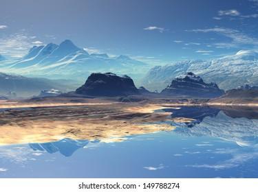 Fantasy Mountain Landscape - Computer Artwork