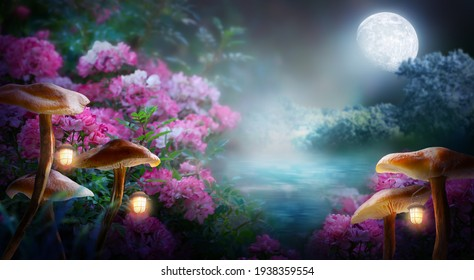 Fantasy mushrooms with lanterns in magical enchanted fairy tale landscape with forest lake, fabulous fairytale blooming pink rose flower garden on mysterious background, glowing moon ray in dark night